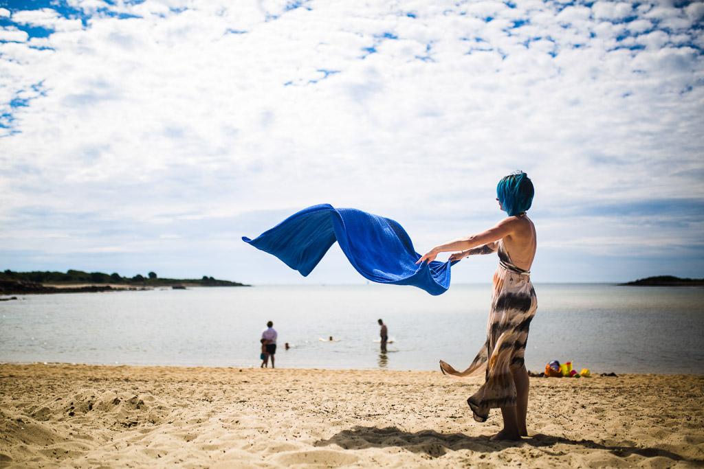 fin du moment à la plage pendant le reportage de vacances de Nicole Gevrey